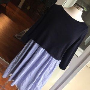 COS Navy Sweater Shirtdress Pinstripe w/ patchwork